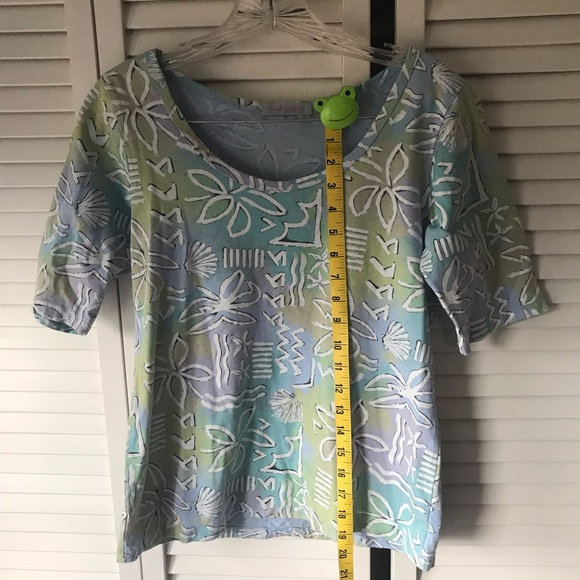 NWOT Fresh Produce light green casual short sleeve cotton v neck shirt size M